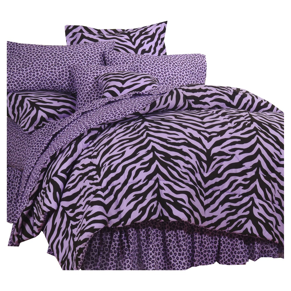 Image of Lavender (Purple) Zebra Print Multiple Piece Comforter Set (Daybed) 5 Piece - Karin Maki