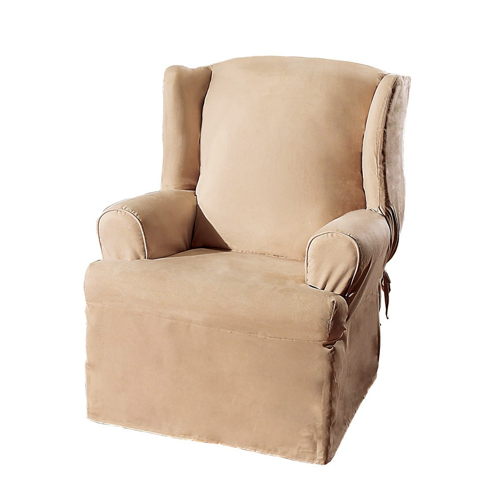 Soft Suede Wing Chair Slipcover Taupe Sure Fit