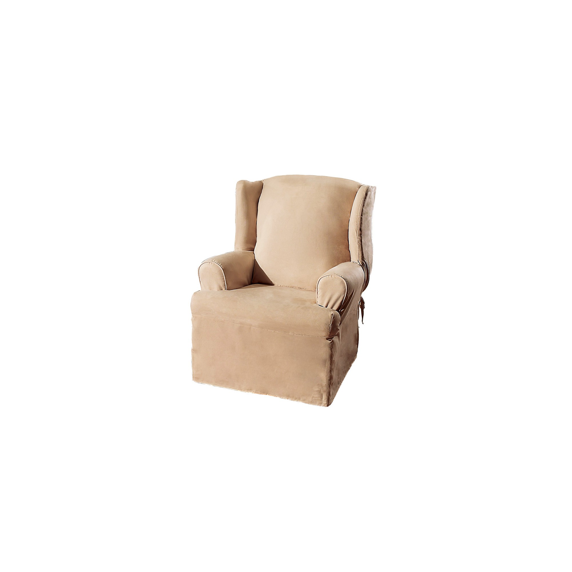Soft Suede Wing Chair Slipcover Taupe - Sure Fit, Brown