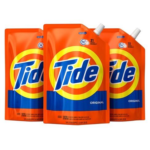 Tide Original Liquid Laundry Detergent Smart Pouch HE Turbo Clean - 48 fl oz/3pk - image 1 of 3