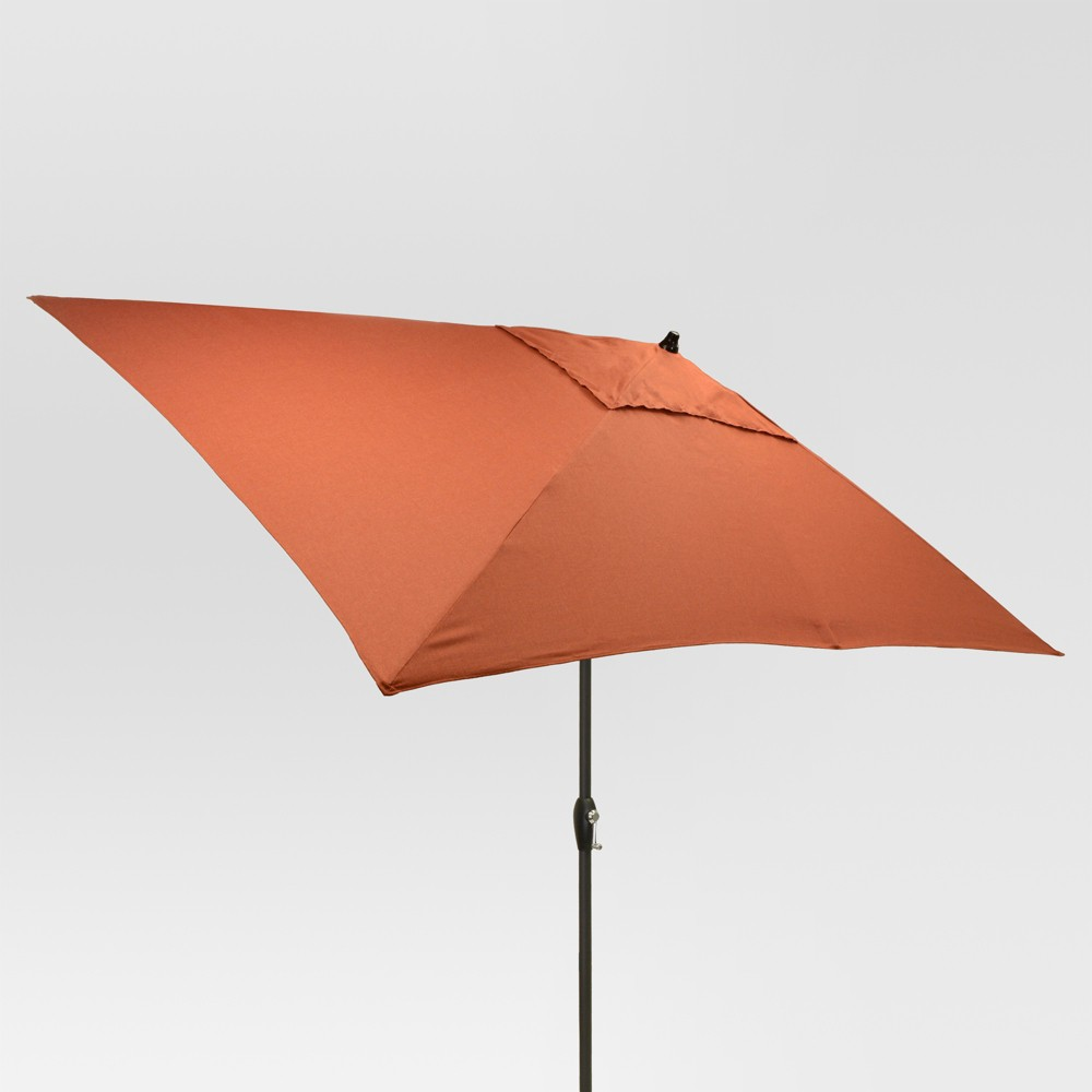 6.5' x 10' Rectangle Umbrella - Orange - Black Pole - Threshold