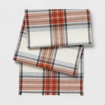 "72"" x 14"" Cotton Yarn Dyed Plaid Table Runner - Threshold™"