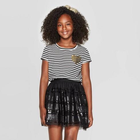 Girls' Short Sleeve Stripe Pocket T-Shirt - Cat & Jack™ Black/Cream - image 1 of 3