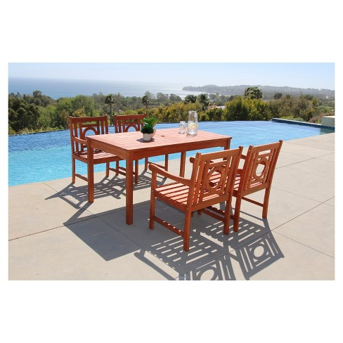 Malibu 5pc Rectangle Wood Patio Dining Set - Brown - Vifah - image 1 of 1