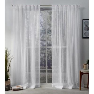 Set of 2 Belgian Sheer Hidden Tab Top Curtain Panel - Exclusive Home