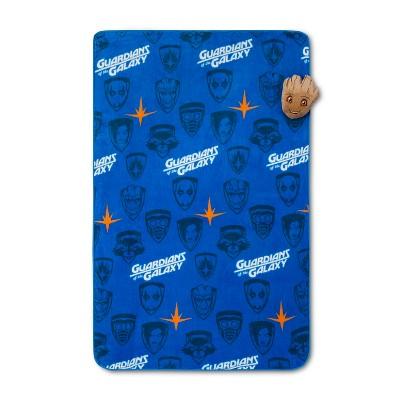 Marvel GOTG Groot Nogginz Blanket Set Blue