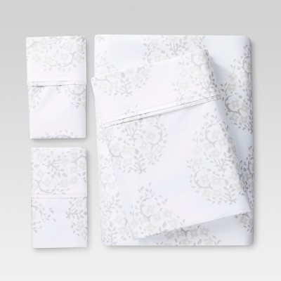 Performance Sheet Set (Queen)Block Print Paisley White 400 Thread Count - Threshold™
