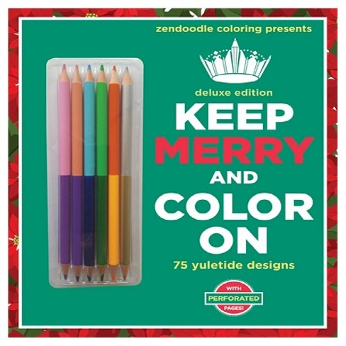 Zendoodle Coloring Presents Keep Merry and Color On: Deluxe Edition with Pencils (Paperback) by Meredith Mennitt - image 1 of 1