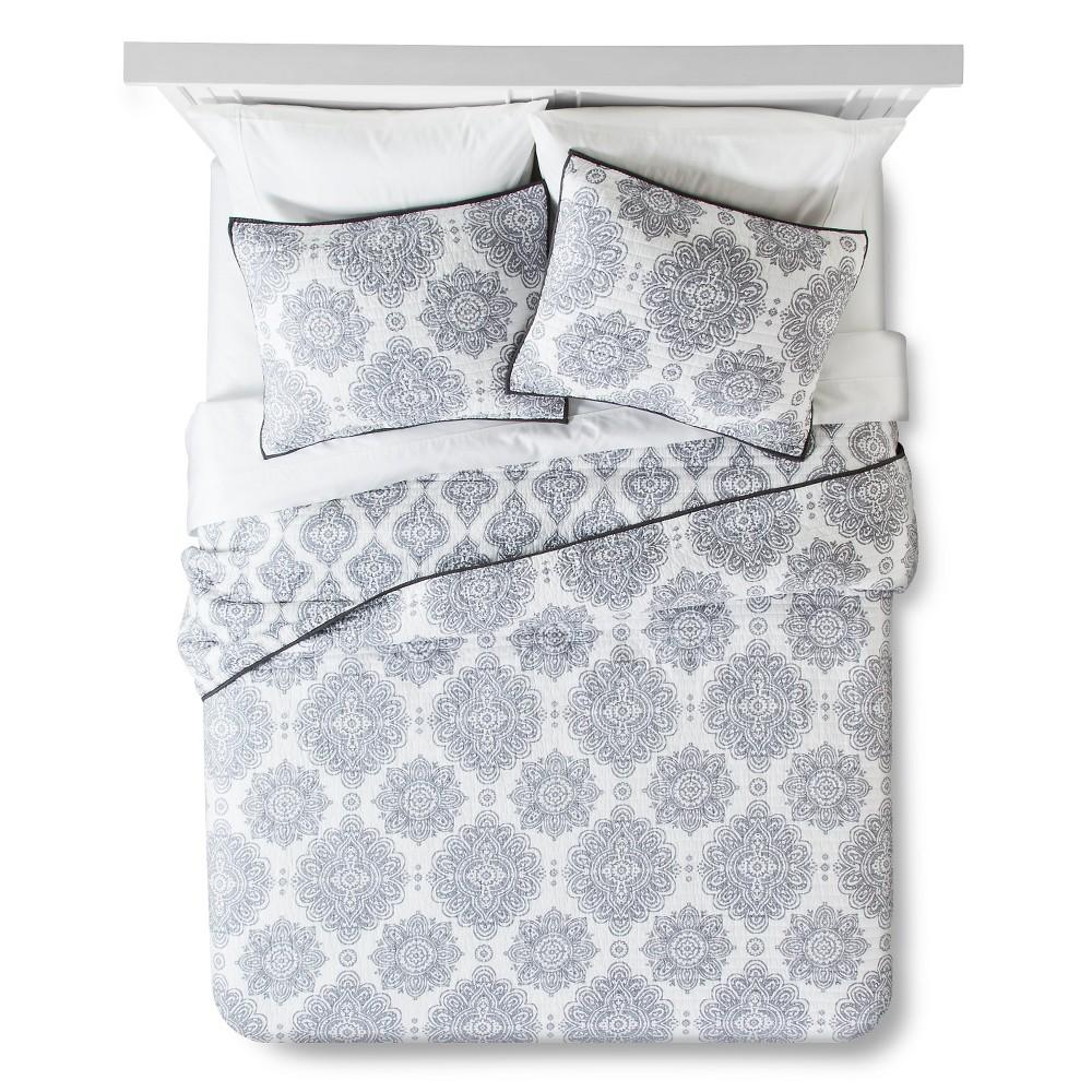 Image of Cresta Quilt Set Full/Queen Gray - homthreads