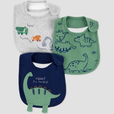 Baby Boys' 3pk Dino Bib - Just One You® made by carter's Gray/Green/Navy One Size