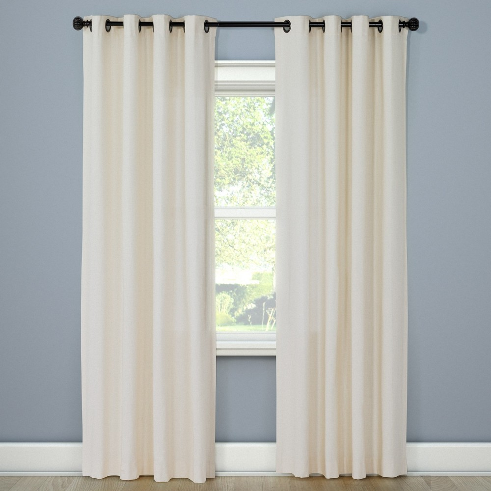 Natural Solid Curtain Panel Shell (White) (54