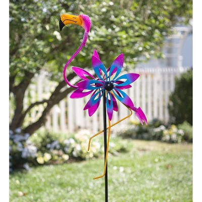 Outdoor Flamingo Metal Garden Wind Spinner Sculpture With Bobble Accents    Plow U0026 Hearth : Target