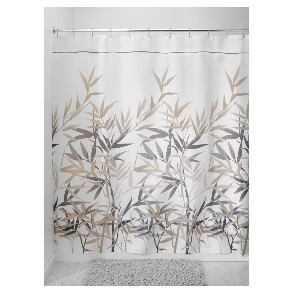 Image of Anzu Fabric Shower Curtain Stall - Black/Tan - InterDesign