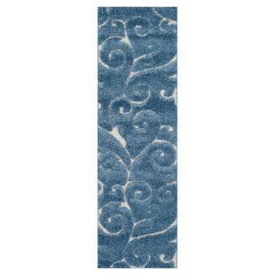 "2'3""x6'6"" Runner Abstract Shag/Flokati Loomed Light Blue/Cream - Safavieh"