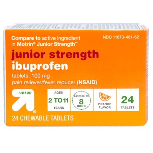 Junior Strength Ibuprofen (NSAID) Pain Reliever & Fever Reducer Chewable Tablets - (Compare to Junior Strength Motrin) - Orange - 24ct - Up&Up™ - image 1 of 4