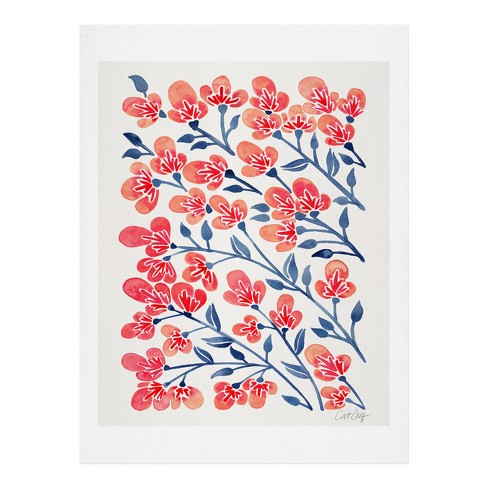 Cat Coquillette Pink Cherry Blossoms Wall Art Print Pink - society6 - image 1 of 2