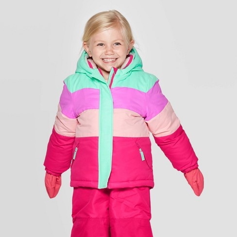 Toddler Girls' Pieced Tech Fashion Jacket with built in Mittens - Cat & Jack™ Green - image 1 of 4