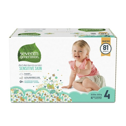 Seventh Generation Free & Clear Diapers Size 4 - 81ct - image 1 of 4