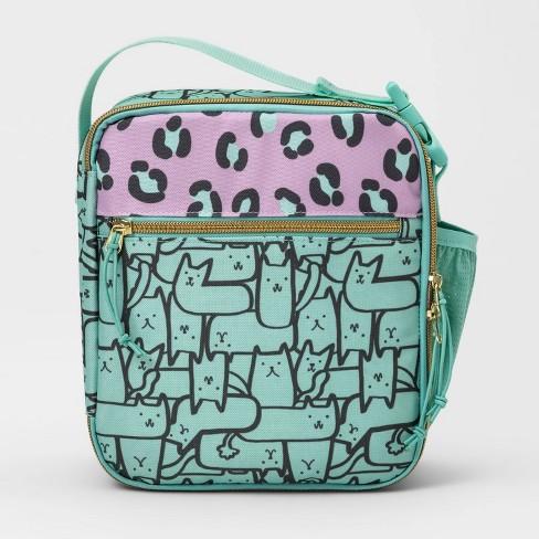 Lunch Bag Green Cats Print Cat Jack