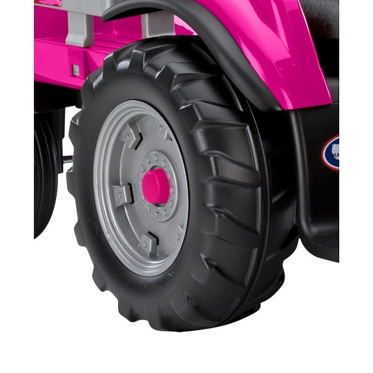 Peg Perego Case IH Magnum Tractor with Trailer Pink image number null