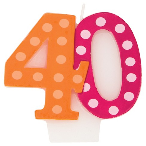 Bright And Bold 40th Birthday Candle Target