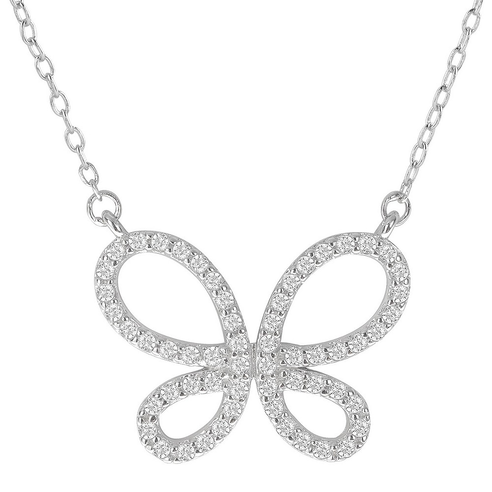 1 1/2 CT. T.W. Round-cut CZ Pave Set Butterfly Pendant Necklace in Sterling Silver - Silver (18), Girl's