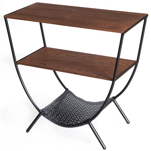 Wood and Metal Console Table with 3 Shelves Wood - Uniquewise - image 1 of 7