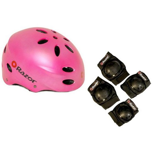 Razor V17 Child Skateboard / Scooter Pink Sport Helmet w/ Elbow & Knee Pads - image 1 of 4