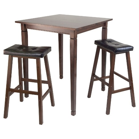 3 Piece Kingsgate Set High Table with Cushion Seat Bar Stools Wood/Walnut/Black - Winsome - image 1 of 1