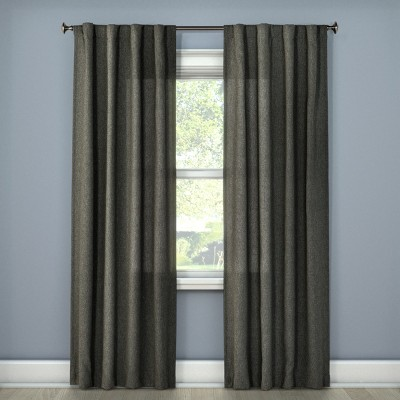 Heathered Curtain Panel Charcoal (42 x63 )- Room Essentials™