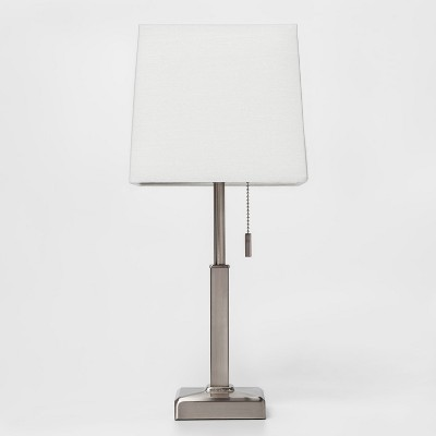 Square Stick With Outlet Table Lamps Nickel (Lamp Only)- Threshold™