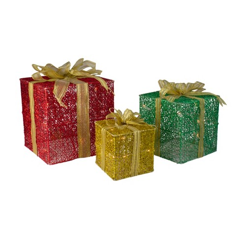 Northlight Set Of 3 Glittering Gift Box Set Lighted Christmas Outdoor Decoration Target