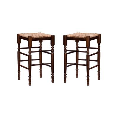 Set of 2 Josefina Backless Counter Height Barstools Walnut - Linon