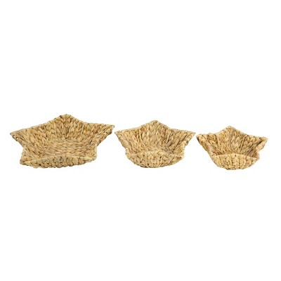 Set of 3 Star Shaped Handmade Decorative Wicker Serving Trays - Olivia & May