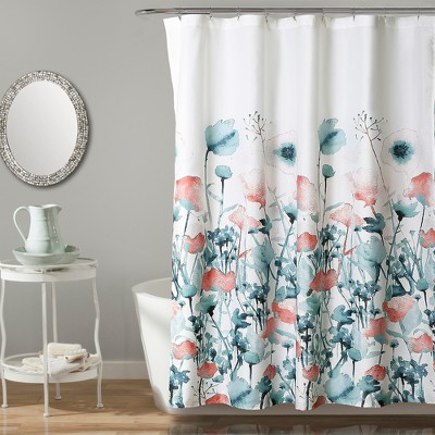 Zuri Flora Shower Curtain Blue - Lush Decor