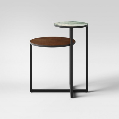 Mixed Material Marble U0026 Metal Accent Table Black   Project 62™