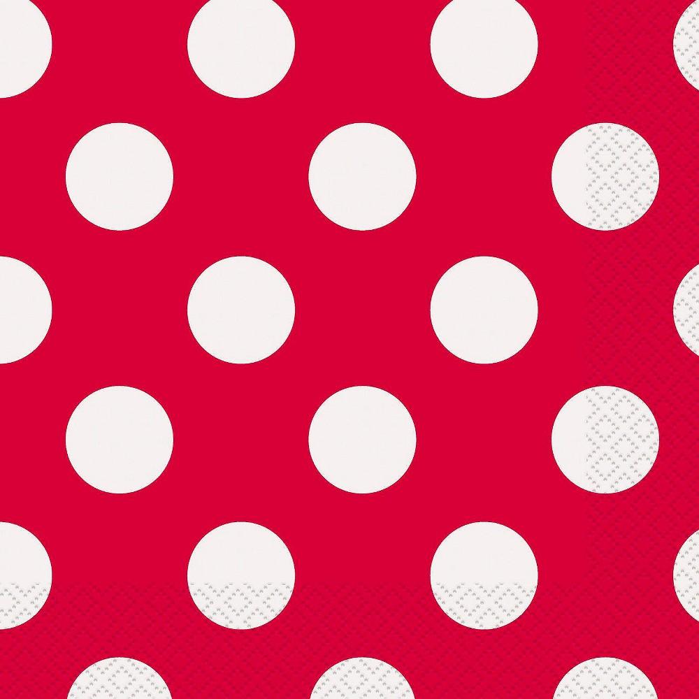 Image of 16ct Red & White Polka Dot Dinner Napkin