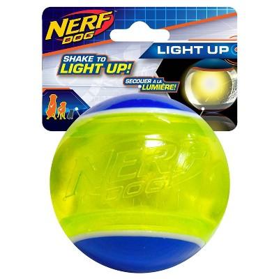 "NERF TPR Blaze LED Tennis Ball Dog Toy - Green - 3.25"""