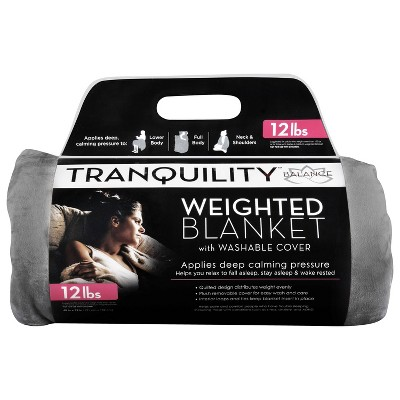 12lbs Weighted Blanket with Removable Cover Gray - Tranquility