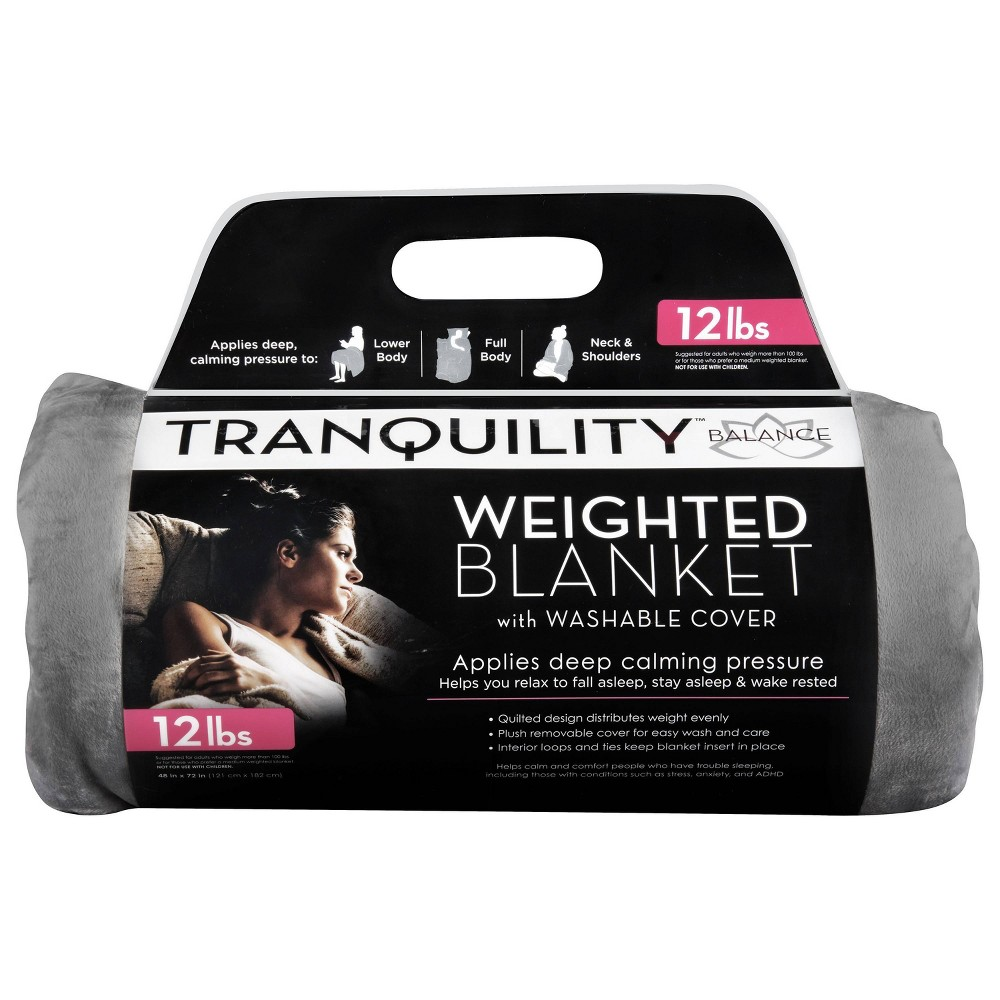 Image of 12lbs Weighted Blanket with Removable Cover Gray - Tranquility