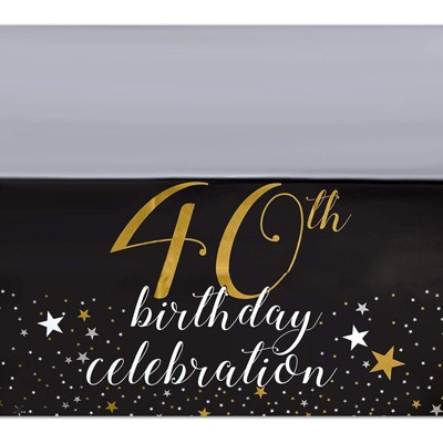 Sparkle and Bash 3 Pack Black Plastic Tablecloth for Party, 40th Birthday Celebration (54 x 108 in)