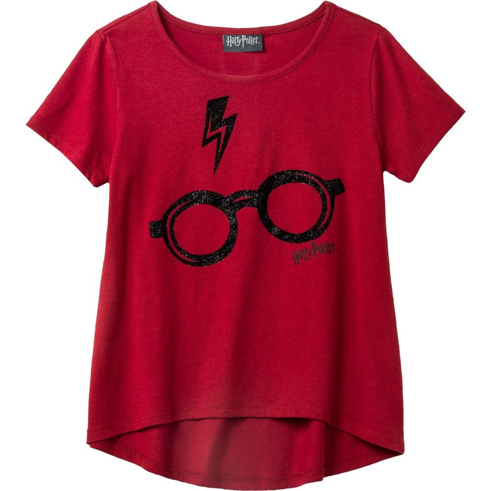 Girls' Harry Potter Glasses Graphic Short Sleeve T-Shirt - Red L