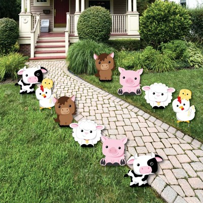 Big Dot of Happiness Farm Animals - Barnyard Animal Lawn Decorations - Outdoor Baby Shower or Birthday Party Yard Decorations - 10 Piece