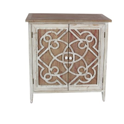 Natural Wood Cabinet with Trellis Doors Light Brown - Olivia & May