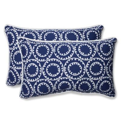 Pillow Perfect Ring a Bell Outdoor 2-Piece Lumbar Throw Pillow Set - Blue