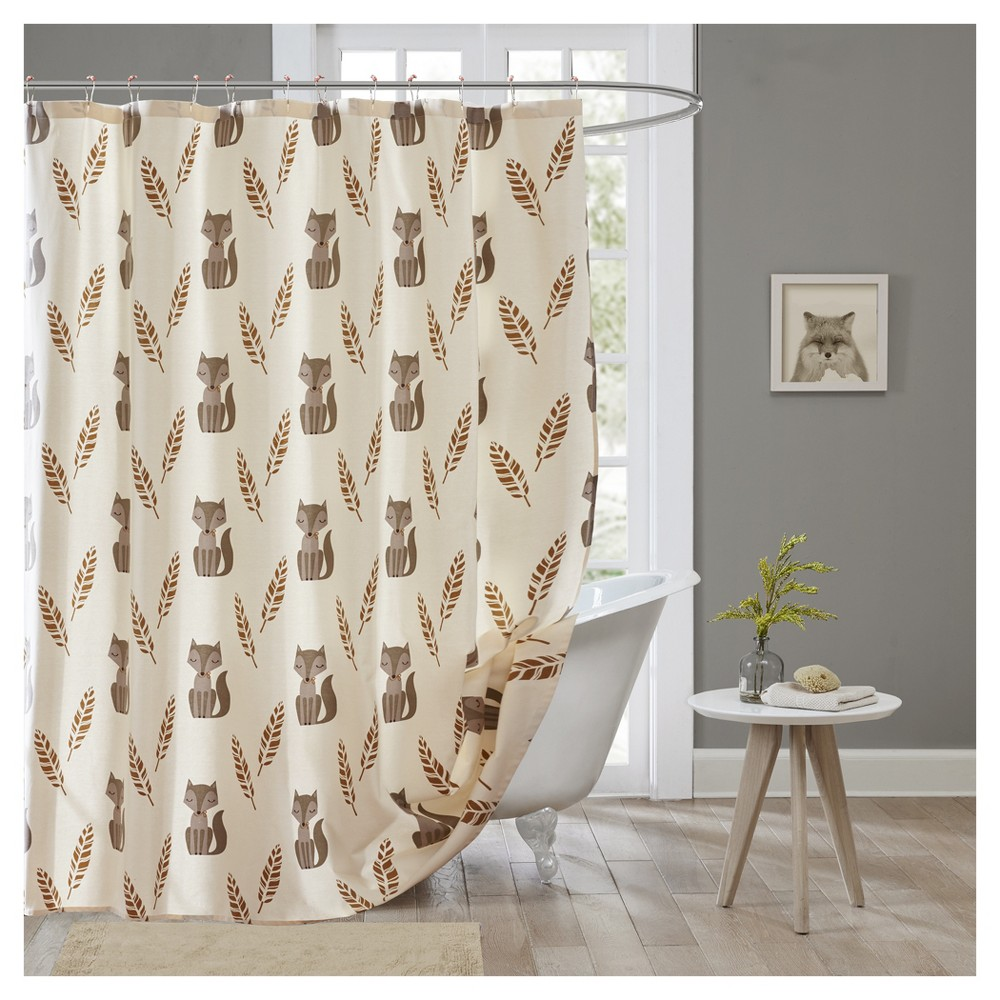 Foxes Shower Curtain Cream, Multi-Colored