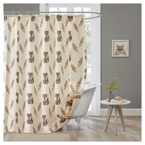Foxes Shower Curtain Cream - image 1 of 1