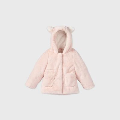 Toddler Girls' Hooded Ears Fashion Faux Fur Jacket - Cat & Jack™