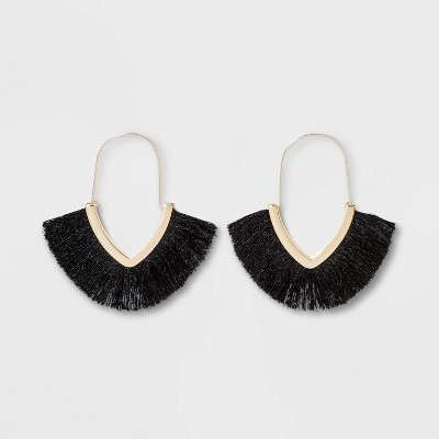 SUGARFIX by BaubleBar Fringe Hoop Earrings - Black