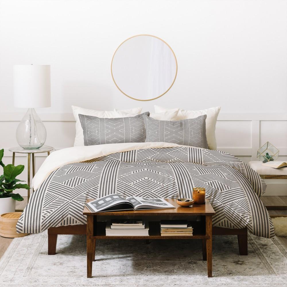 Twin/Twin XL Geometric Holli Zollinger Amai Duvet Cover Set Gray - Deny Designs, White Black